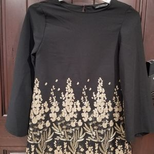 ZARA WOMAN Gold Sequin Short Dress XS Black Gold